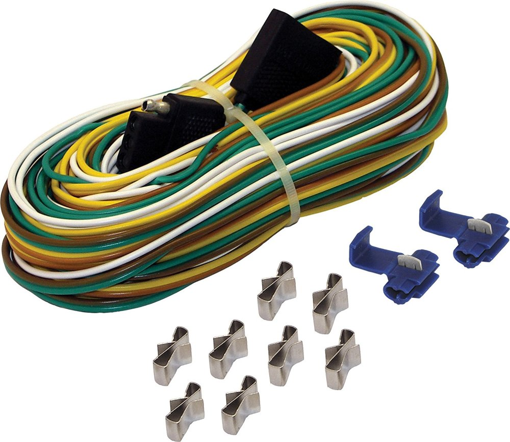 medium resolution of 4 way trailer wire harness 25 feet features a 25 wishbone trailer harness a 4 vehicle side connector and color coded 4 way wires by shoreline marine