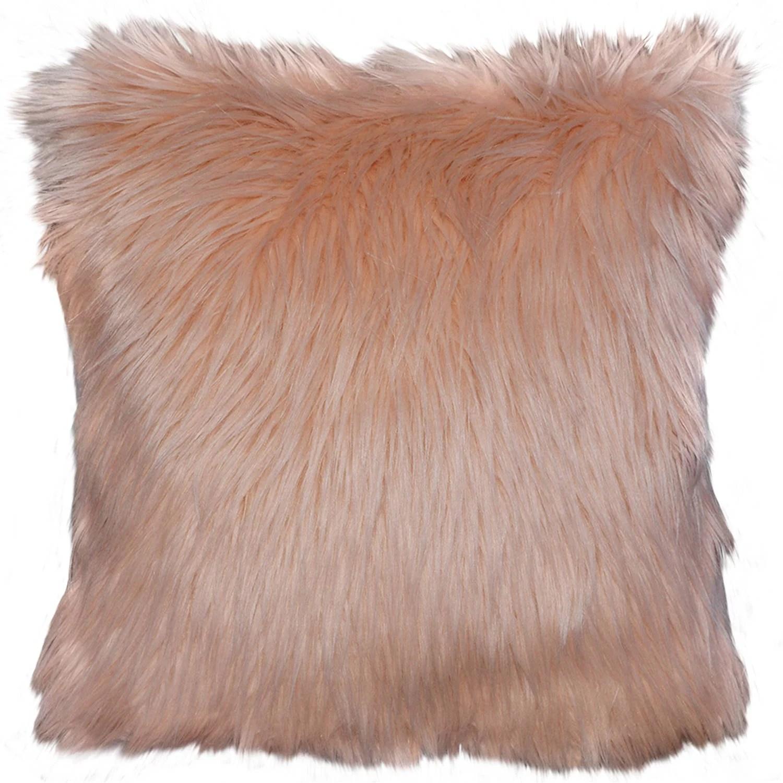 better homes gardens arctic faux fur decorative throw pillow 16 x16 peach blush 1pc square