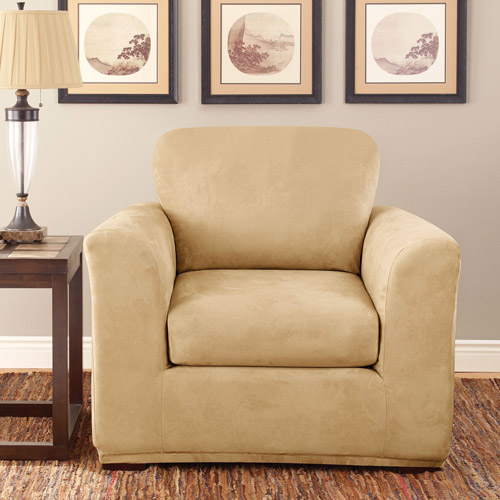 sure fit stretch suede 3 piece chair slipcover