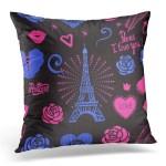 Bosdeco Blue Modern Bright Design Girls Paris I Love You Ink Eiffel Tower And Roses Hand Drawing Black Pink Cute Pillowcase Pillow Cover Cushion Case 20x20 Inch Walmart Canada