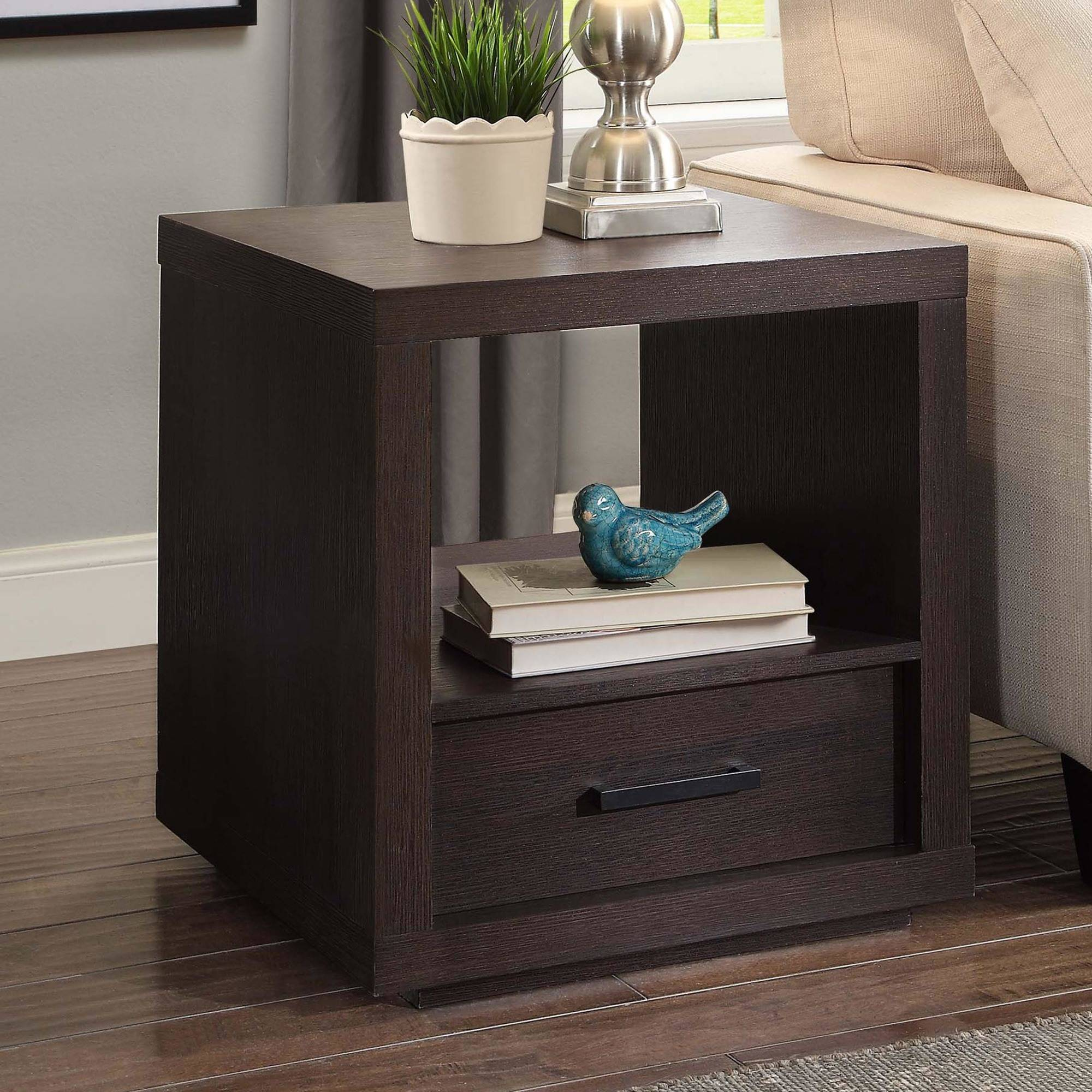 better homes gardens steele end table with drawer espresso finish