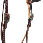 Horse Tack Bridle Western Leather Headstall Turquoise Bling Gator Brown 80238hb Bridles Headstalls