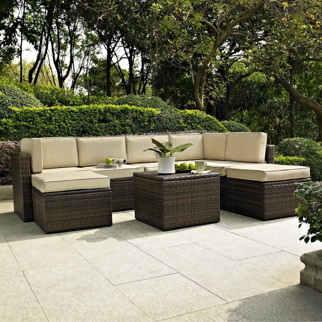 crosley furniture palm harbor 8-piece outdoor wicker seating set