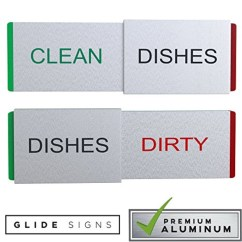 Kitchen Signs For Work Europa Cabinets Glide Dishwasher Magnet Clean Dirty Sign Premium Metal Magnetic Dishes Indicator Improved Slider Locks