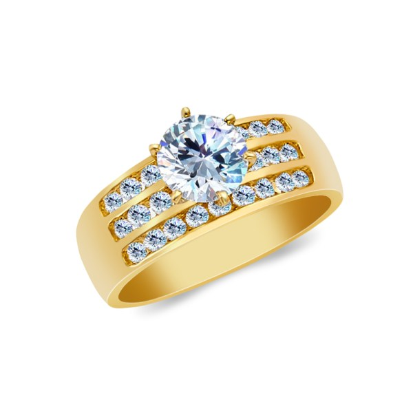 Ioka - 14k Yellow Solid Gold 1 Ct. Cut Cubic Zirconia Cz Wedding Engagement Ring Size 8