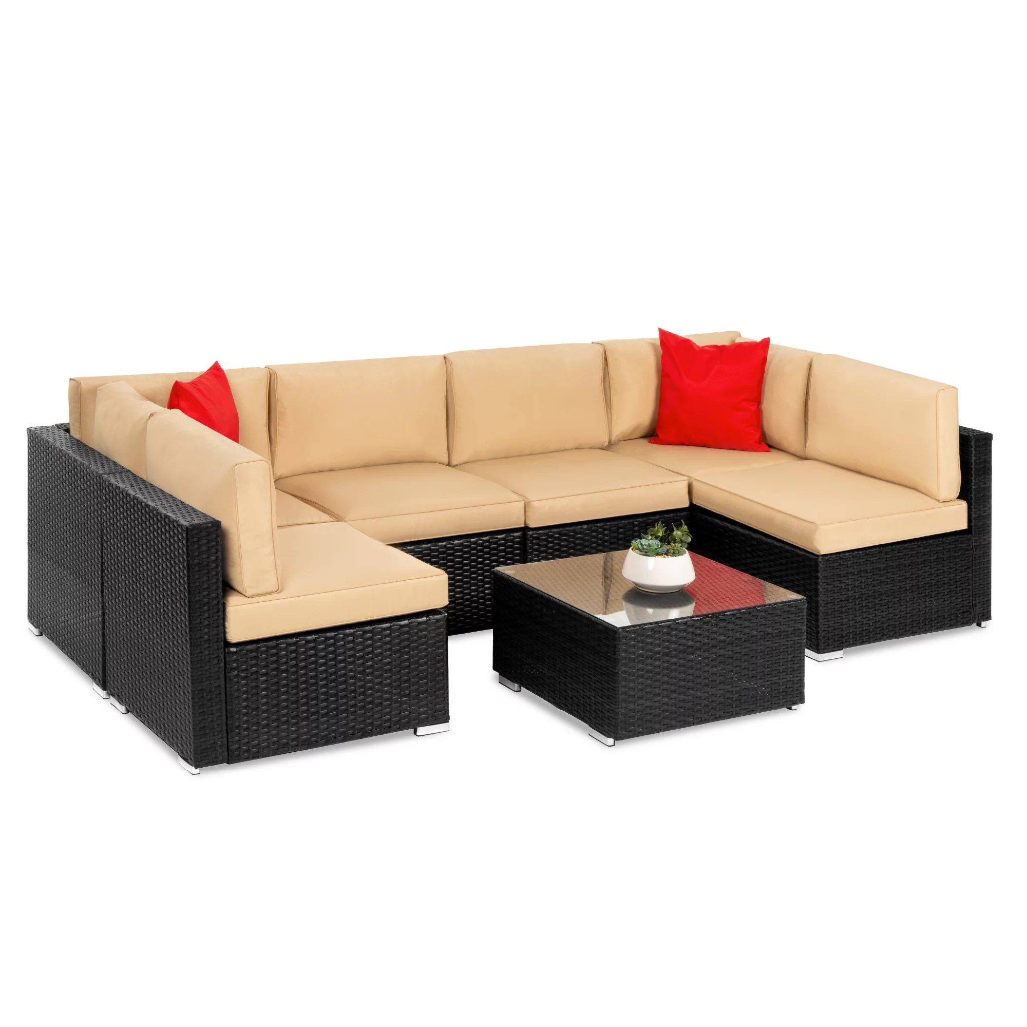 best choice products 7 piece modular outdoor patio furniture set wicker sectional sofas w cover seat clips a black