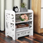 Diy Modern White Bedroom Bedside Table Rack Carved Hollow Nightstand Storage Home Decoration Size 15 16 X11 61 X18 11 Walmart Com Walmart Com