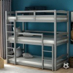 Modernluxe Wood Triple Bunk Beds For Kids Toddlers Twin Size 3 Bunk Bed Frame With Built In Ladders Walmart Com Walmart Com