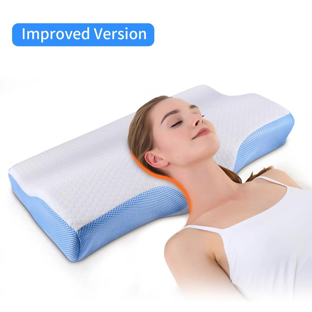 cervical pillow memory foam pillow for sleeping bed pillow for neck pain orthopedic contour pillow for side back and stomach sleepers