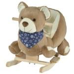 Qaba Kids Plush Ride On Rocking Horse Toy Bear Style Ride On Rocker With Music For Child 18 36 Months Brown Walmart Com Walmart Com