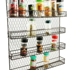 Kitchen Spice Rack Cabinets Images 4 Tier Metal Wall Mount Spices Organizer Pantry Cabinet Hanging Herbs Seasoning Jars Storage Closet Door Cupboard Mounted Holder Raw