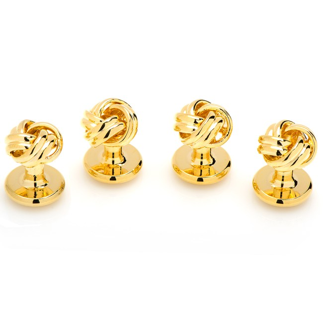 Ox and Bull Mens Plated Gold-Tone Knot Dress Fashion Designer Cufflink Studs