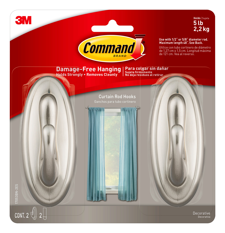 command curtain rod hooks 2 hooks 2 strips per pack walmart com