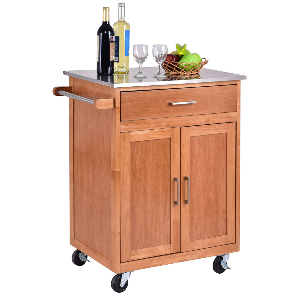 wooden kitchen cart cabinet doors with glass fronts wood trolley stainless steel top rolling storage island