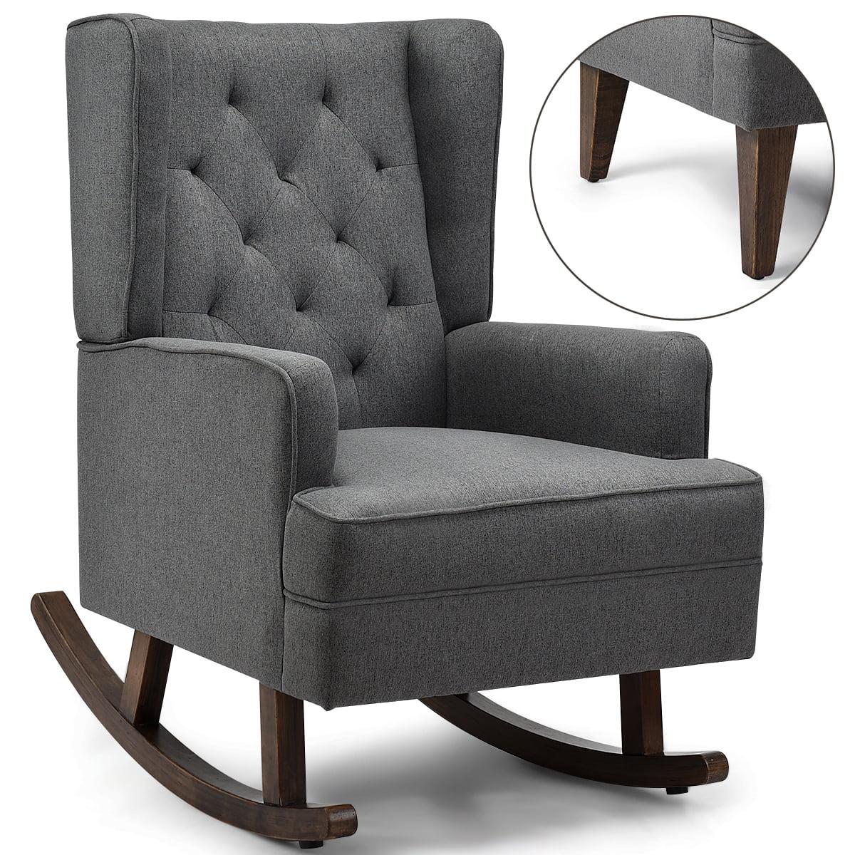 Costway 2 In 1 Tufted Rocking Chair Wingback Lounge Leisure Armchair Fabric Rocker Grey Walmart Com Walmart Com