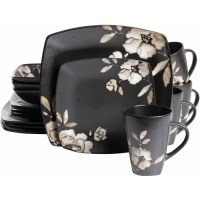 Gibson Studio 16-Piece Madame Floral Square Stoneware ...