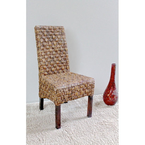 basket weave dining chairs ergonomic office canada victor abaca chair with mahogany hardwood frame salak brown