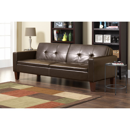 Cline Sofa Bed With Wood Legs Brown Fau  Walmartcom