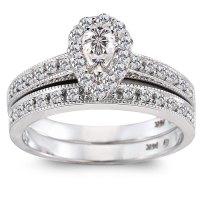 1/2 Carat Pear-Shaped Diamond 14kt White Gold Bridal Set ...