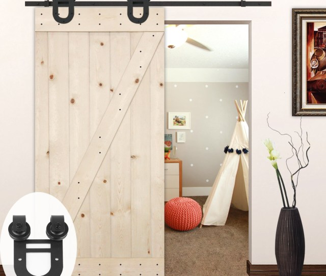 Unfinished Z Bar Knotty Pine Barn Door With Sliding Door Hardware Kit European Horseshoe Walmart Com