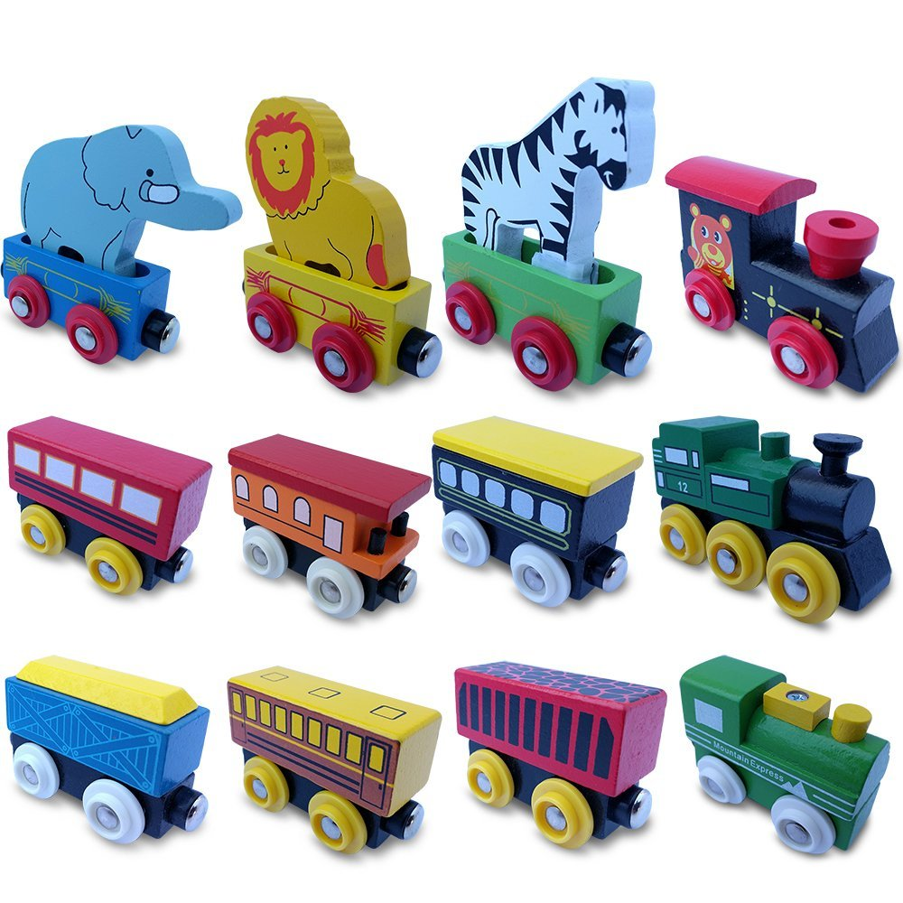 Toysopoly The Premium 12 Pcs Wooden Engines Train Cars