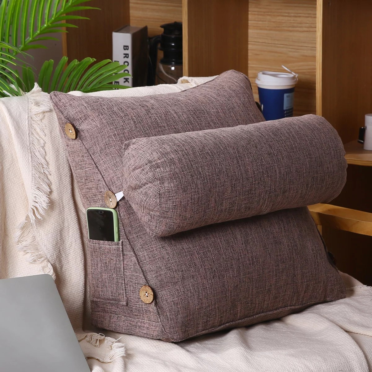 17 7in sofa wedge pillow for relaxing lumbar support heights adjustable back support pillow adult backrest lounge cushion reading pillow and bed