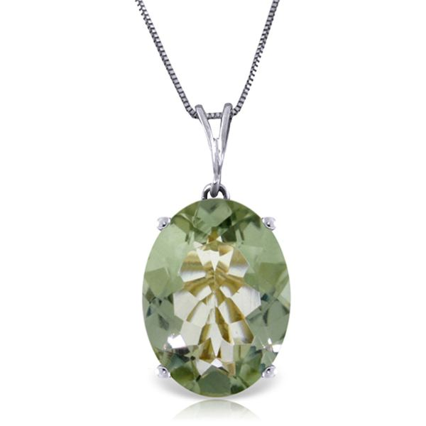 Alarri 7.55 Carat 14k Solid White Gold Necklace Oval Green Amethyst With 24 Chain Length