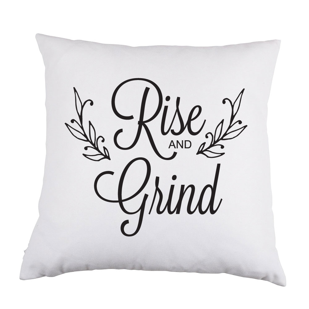 Rise and Grind White Satin Throw Pillow 16 inch Square ...
