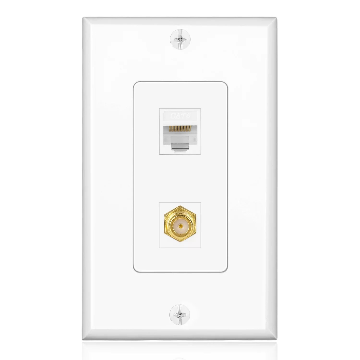 medium resolution of ethernet coax wall plate with 1 rj45 port and 1 gold plated tv f rv furnace wiring diagrams tv wall plate wiring diagram rv