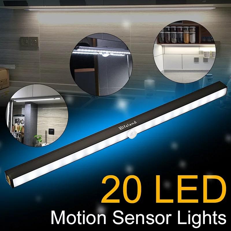2pcs wireless under cabinet lights 20 led motion sensor led closet lights battery operated under cabinet led night light bar for closet cupboard k