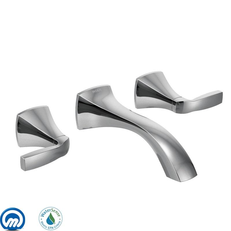 moen voss chrome two handle wall mount bathroom faucet
