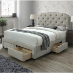 Dg Casa Argo Tufted Upholstered Panel Bed Frame With Storage Drawers And Nailhead Trim Headboard King Size Storage Bed In Beige Linen Style Fabric Walmart Com Walmart Com