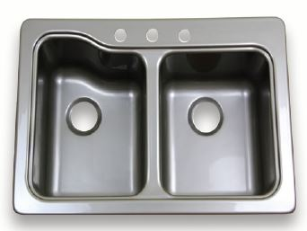 24 kitchen sink cabinets kansas city lippert components 209586 better bath double 3 8 inch x 18 7 drop in surface mount with hole faucet stainless steel