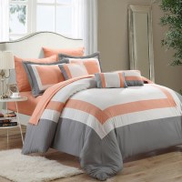 Duke Peach, White & Grey 10 Piece Comforter Bed In A Bag ...
