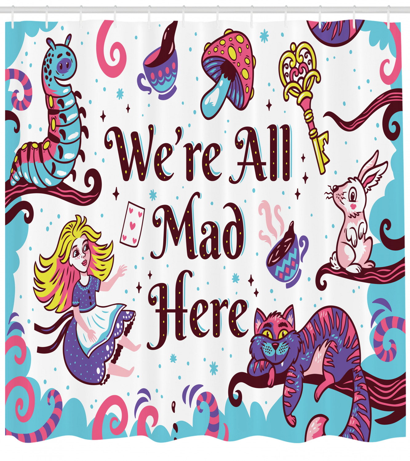 alice in wonderland shower curtain we are all mad here quote with caterpillar white rabbit cheshire cat fabric bathroom set with hooks 69w x 70l
