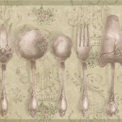 Wall Paper Borders For Kitchens Kitchen Soap Dispensers Vintage Tableware Silver Spoons Forks Olive Green Wallpaper Border Retro Design Roll 15 X 5 25