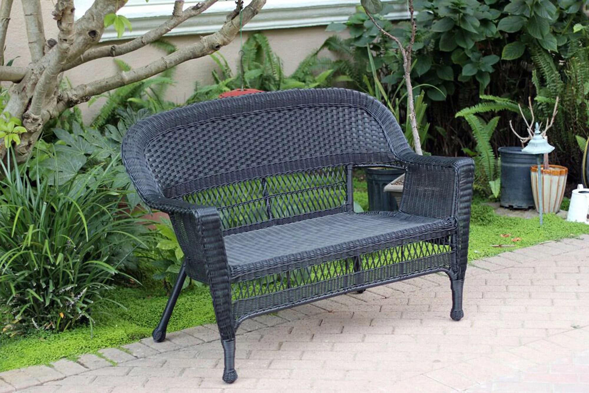 """51"""" black resin wicker outdoor"""
