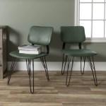 Mid Century Modern Green Dining Chairs By Manor Park Set Of 2 Walmart Com Walmart Com