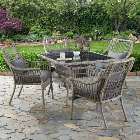 better homes gardens belfair 5 piece outdoor patio wicker dining set walmart com