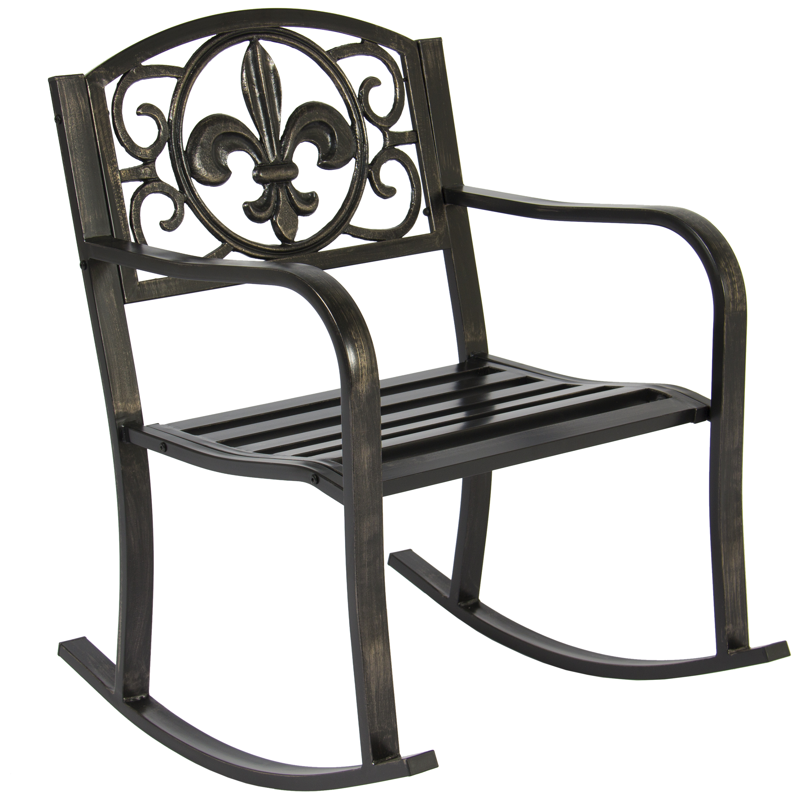 black rocking chairs captain dining best choice products metal chair seat for patio porch deck outdoor w scroll design bronze walmart com