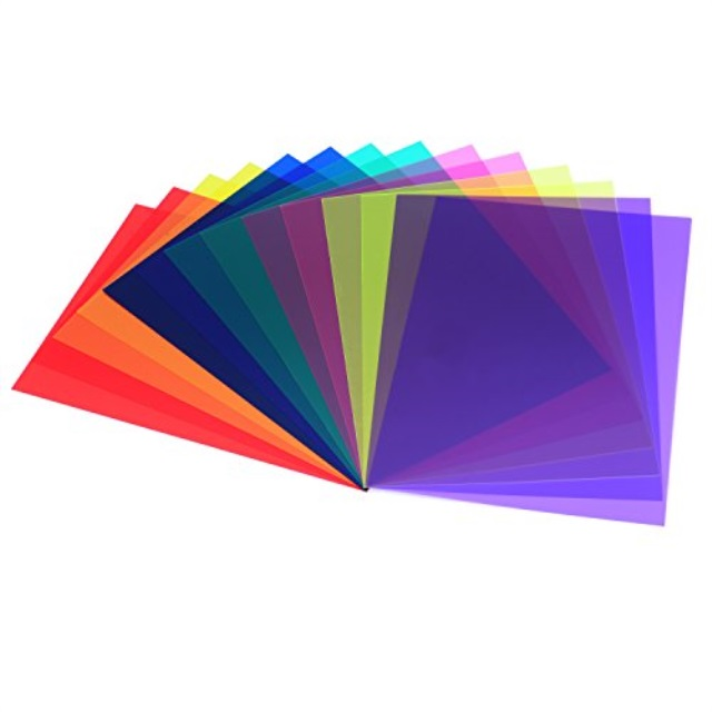 sumind 14 pieces correction gel filter overlays transparency color film plastic sheets gel lighting filters 7