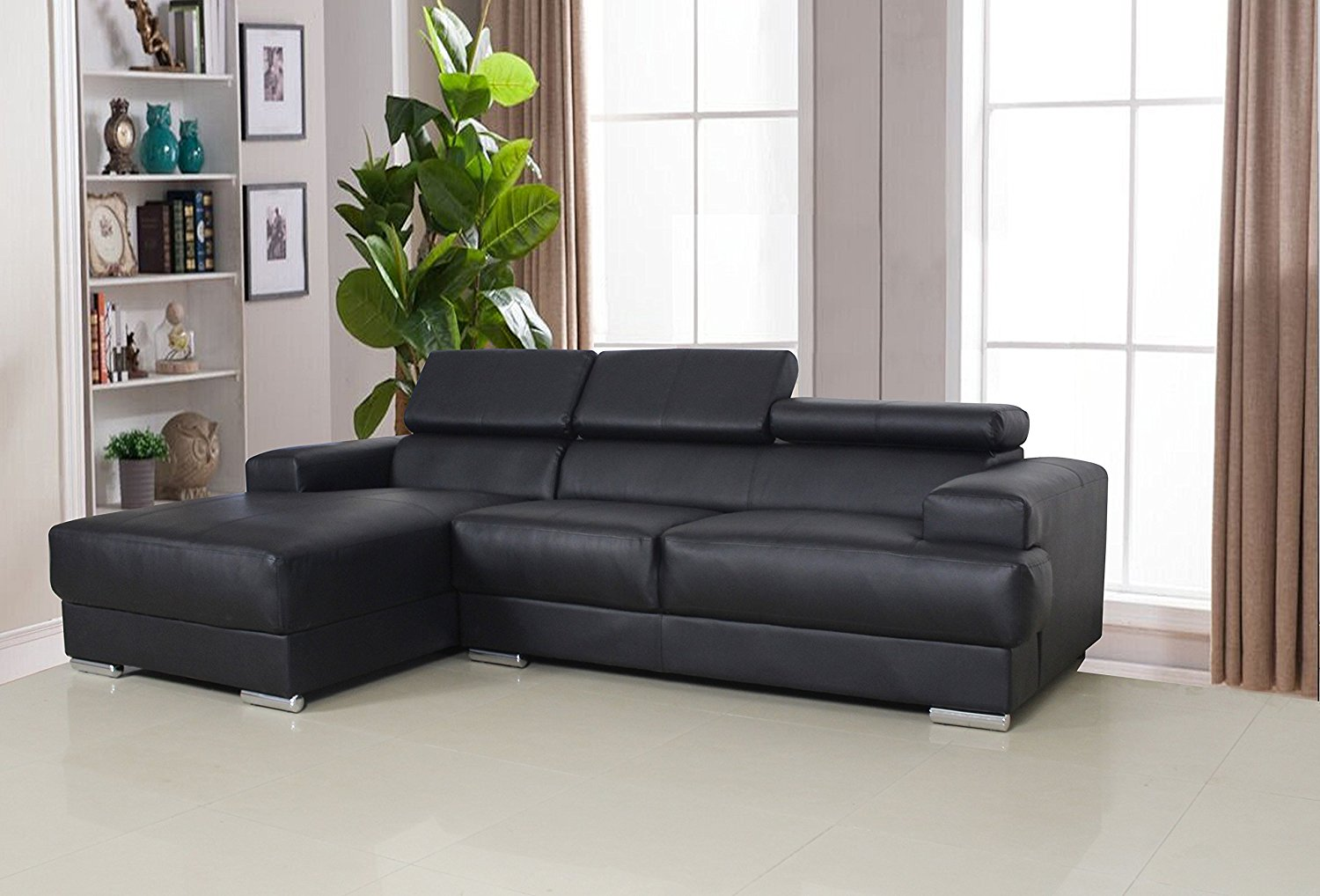 Us Pride Furniture Gabriel Contemporary Bonded Leather 2 Pc Left Facing Sectional Sofa Set Black S0063 Walmart Com