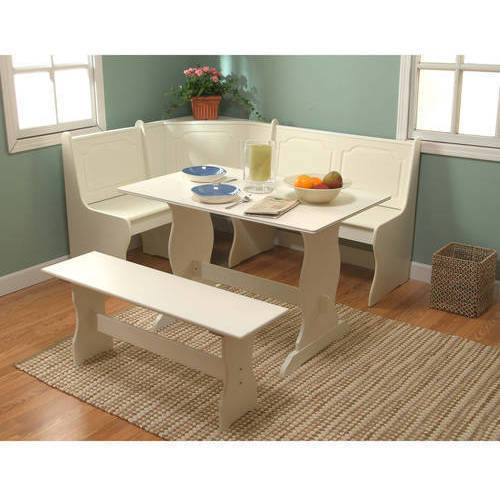 walmart childrens table and chairs folding chair breakfast nook 3-piece corner dining set, antique white - walmart.com