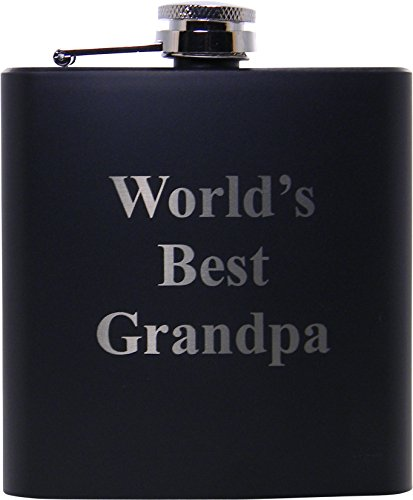 World S Best Grandpa 6oz Black Flask Great Gift For