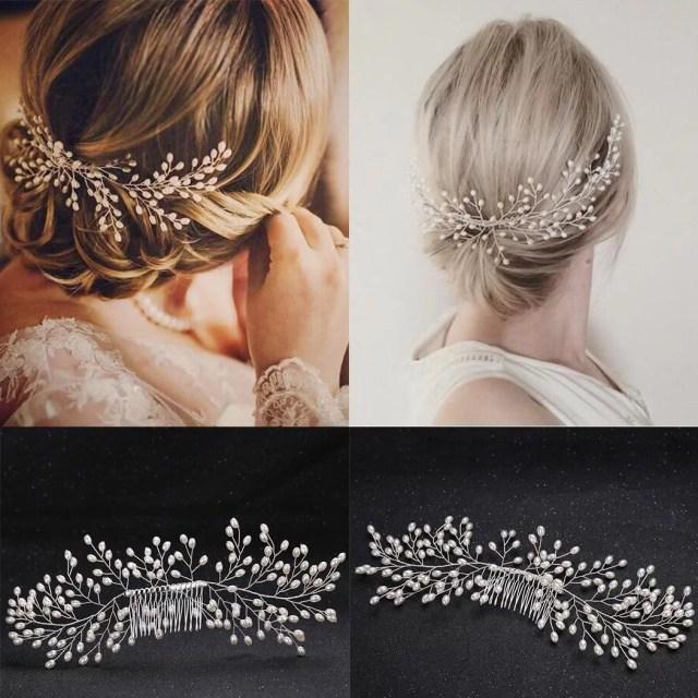 bride hair jewelry faux pearl vine hair pin comb wedding