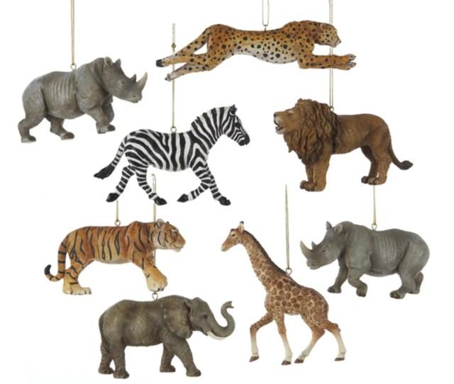 Club Pack Of  Wild Safari Animal Christmas Ornaments