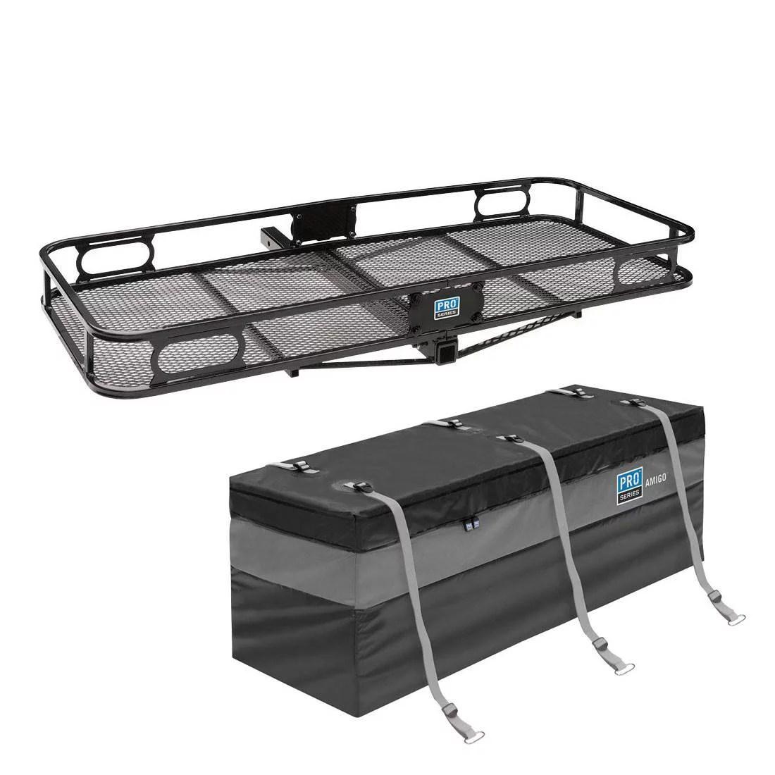 pro series rambler trailer mounted hitch cargo carrier basket storage bag