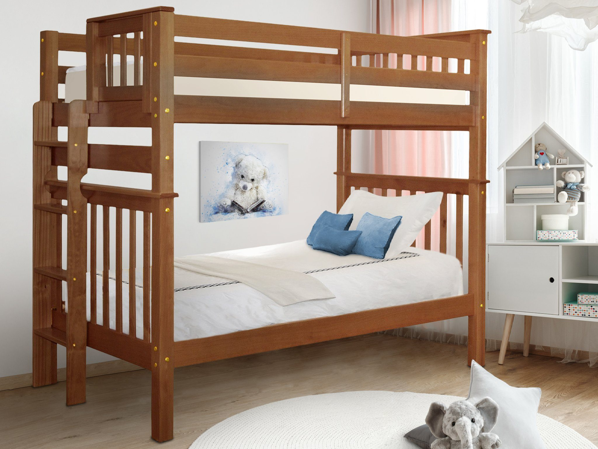 bedz king tall bunk beds twin over twin mission style with end ladder espresso