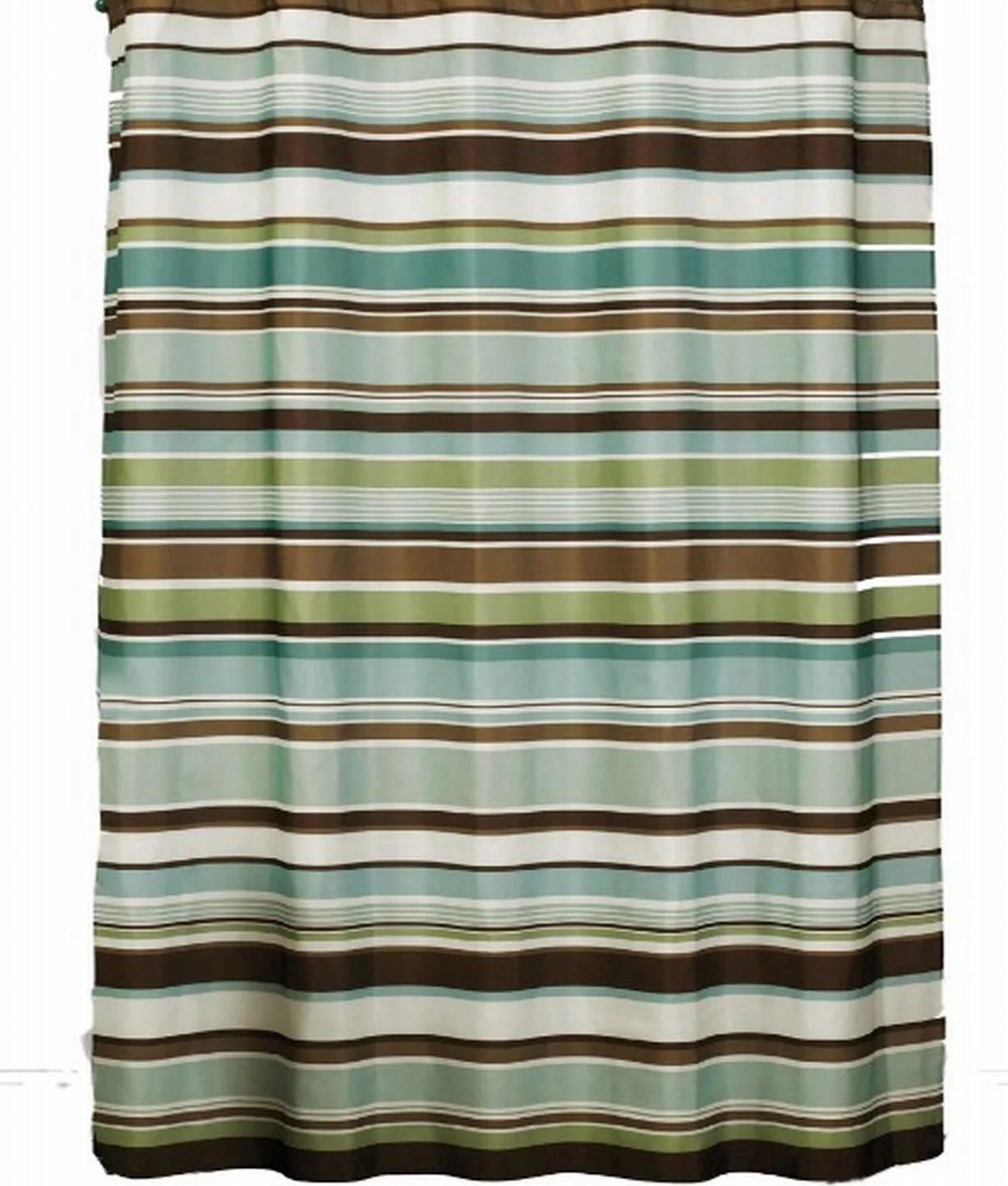 saturday knight eastside stripe fabric shower curtain green brown stripes