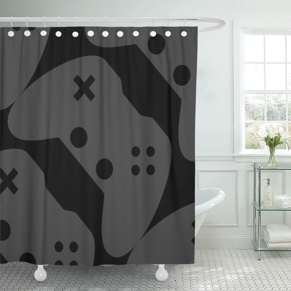 cynlon games video game controller nerd nerdy dork geek bathroom decor bath shower curtain 66x72 inch walmart com
